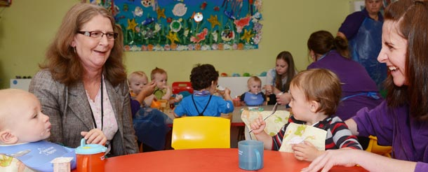 Staff with children at nursery